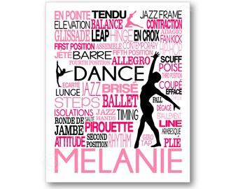 Dance Typography Poster, Gift for Dancer, Dance Team Art, Dance Team Gift, Dance Coach Gift, Dance Teacher Gift, Dance Canvas, Dancer Gift