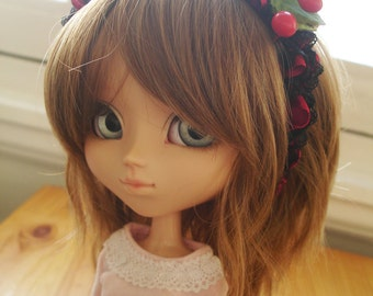 Lace-covered metal headband, black and garnet, for Pullip