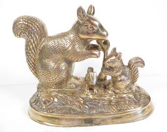 Vintage Brass Squirrel Family Statue - Brass Woodland Squirrel Figures