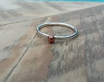 Silver and copper bobble ring, silver ring, copper ring, silver stack ring, copper stack ring, mixed metal ring