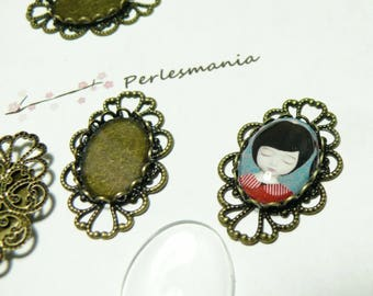 20 pieces: 10 retro lace oval and 10cabochons 13 * 18MM pendants