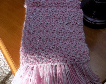 Pink and White Crochet Scarf