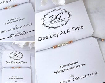 One Day At A Time ... Rose/Silver Beaded Bracelet Gift