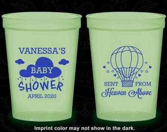 April Showers Baby Shower, Glow in the Dark Baby Shower Cups, Sent from Heaven, Hot Air Balloon Baby Shower, Glow Baby Shower Party (90097)