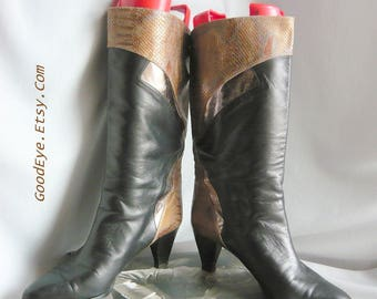 Vintage Roberto Gil Leather Ankle Boots / size 10 m Eu 42 UK 7 .5 / Low Heels 1990s Black Metallic Bronze / made in Spain