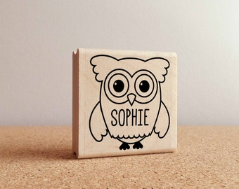Owl Personalized Custom Rubber Stamp with Name, Custom Stamp with Owl for Kids