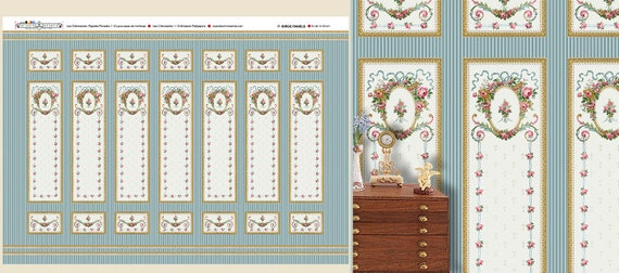 Dollhouse Miniature Wallpaper, Belle, Scale One Inch