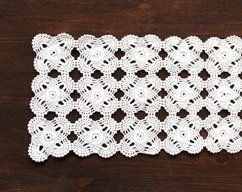 White rectangular Crochet Doily Vintage doily