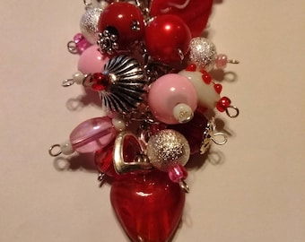 Red pink and white chunky purse charm for valentines day