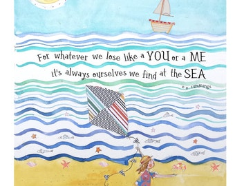 """Sailboats-Ocean-The beach-It's always ourselves we find at the sea""""-Poetry-Children's wall art-""""Children's gift-Children's art-5X7""""-8X10"""""""