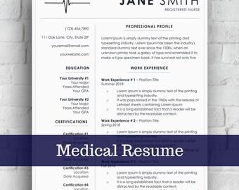 Nurse Resume Template | Medical Cover Letter | Word CV | Doctor Resume Design | Easy Edit | Instant Download