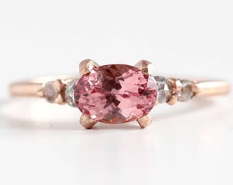 Pink Garnet Ring in Recycled 14k Rose Gold - Oval Faceted Prong Set Blush Pink Gemstone with Rose Cut Diamond Accents
