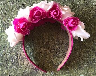 White and Fuchsia Pink Frida Inspired Headband