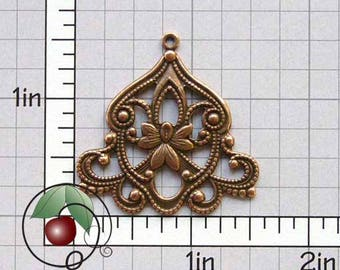 Filigree Pendant, Filigree Drop, Necklace Finding, Earring Finding, Filigree Stamping, Copper Ox Plated Brass, 4 Pcs, 1272co4
