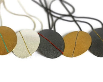 Large Sewn Up necklace with embroidery thread