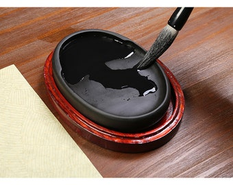 Free Shipping Chinese Calligraphy Fish Pattern 6 inch 14.9x10.4x2.4cm Natural Stone Chinese Inkstone - 0100 Orientalartmaterial Supply