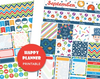 SEPTEMBER MONTHLY KIT printable for Happy Planner Monthly planner kit Back to School stickers Monthly View Planner Sticker Kit
