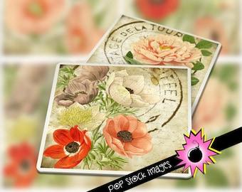 "Digital Coaster Collage Sheet - Printable VINTAGE Flowers Coaster Kit - 3.8"" Square Digital Coasters - Printable Coaster Collage Sheet"