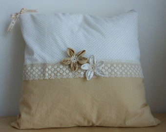 Pillow with fabric lining decorated with ivory lace and flowers (beige, white with beige polka dots) - Hand made