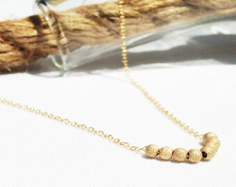 Gold Necklace - Gold Ball - Delicate Sparkle Ball Necklace - Everyday Necklace - Stardust ball - Dainty Necklace