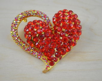 Red Heart Broach. Large and Bold Red and Gold Heart with Red Rhinestones and Irredescent Arch La Ro