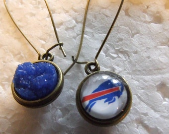 Buffalo Bills  Fan  Two sided Reversible  Earrings Bling and Royal blue druzy resin