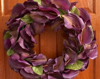 Calla Lily Wreath, Purple Calla Lily, Spring Wreath, Summer Wreath, Flower Wreath, Mothers Day Wreath
