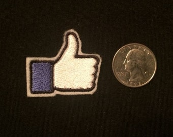 Mini Like or Dislike? Your Choice of One Facebook Embroidered Iron-on Patch