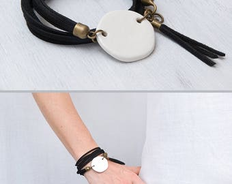 Black and white bracelet Ceramic bead bracelet Boho bracelet Geometric jewelry Wrap bracelet Handmade jewelry Unique gift Tassel bracelet