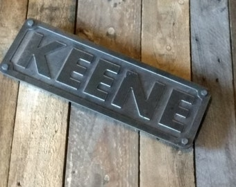 Custom steel name or address plaque numbers or letters