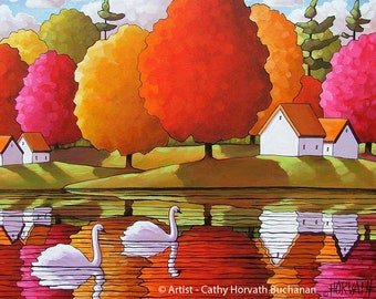 Swans River 5x7 Print, Fall Tree Colors, Giclee Folk Art Print by Cathy Horvath, Scenic Autumn Water Reflections, Landscape Artwork Decor