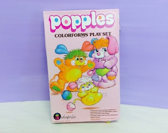 Popples Colorforms, Popples Play Set, 1980s Popples Toys, Cute 1980s Plush Stuffed Animals, 1986 Those Characters From Cleveland,Collectible
