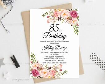 85th birthday invite etsy 85th birthday invitation floral women birthday invitation any age women birthday invite personalized filmwisefo Choice Image