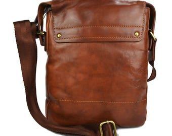Leather shoulder bag satchel mens leather bag ipad tablet bag  brown dark brown luxury bag crossbody hobo bag