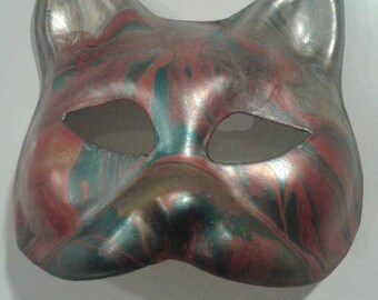 Venetian Abstract Cooper and Green Cat Masquerade Mask