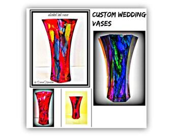 Glass vase decor   hand painted glass vase   colorful glass vases   centerpiece glass vase   hand painted vase   octagon style vase   vases