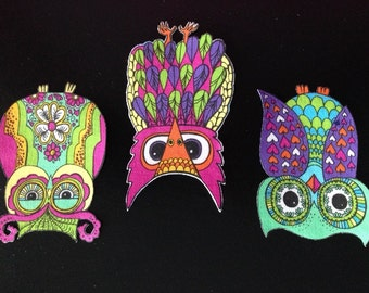 SALE*Set of 3 Owl Appliques*Handmade*Alice Kennedy Designer Fabric/247