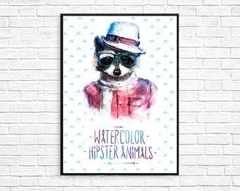 Raccoon Watercolor Hipster Painting Artwork Print Poster