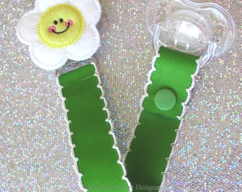 Dainty Daisy Happy smiling flower Pacifier Clip Paci Soother Mam Dummy Nook Binky Holder keeper new baby shower gift girl LOOP OR SNAP