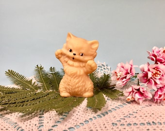 Lovely little kitten Soviet vintage rubber toy Made in USSR Cute kitten Kid room's decor