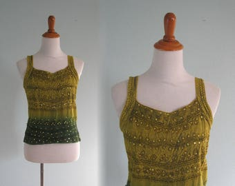 90s Tank Top - Vintage Emerald and Chartreuse Green Tank with Sequins - 90s Hippie Festival Top - Vintage 1990s Top S M