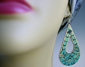 Inlaid Turquoise Sterling Mexico Earrings