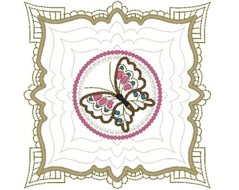 Machine Embroidery Design- Butterfly Block 01-3 sizes included