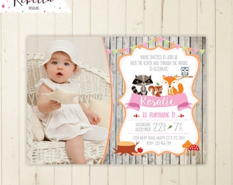 Woodland girl invitation woodland party fox invitation pink woodland birthday invitation owl invite forest friends invite first birthday 192