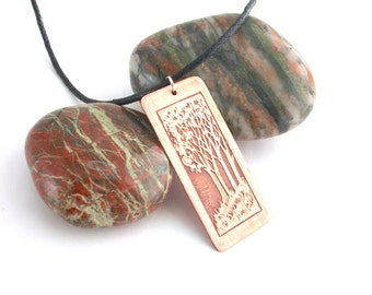 Copper tree necklace, hand etched pendant, wearable art
