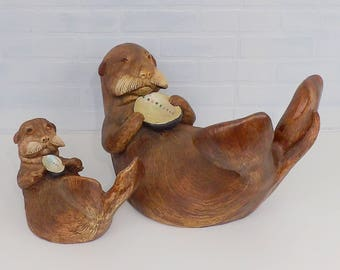 Vintage Otters STAINMASTER Circa 1984 1985 Ceramic Pottery Figurines Sea Ocean Life Decor Beach House Harbor Seal Clam Oyster Shell Pair (2)