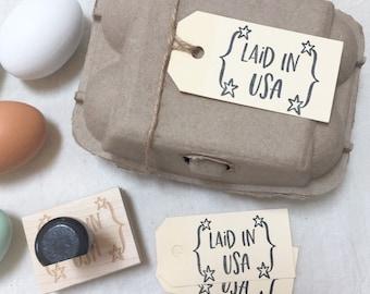 Egg Carton Stamp - Laid in USA - Fresh Eggs - Egg Stamp - Egg Carton Label - Farmhousemaven
