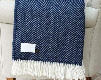 Navy Herringbone Wool Throw