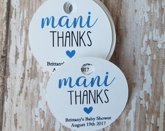 "Mini Mani Thanks Tags, 1.5"" round tag, Mani Thanks, Bridal Shower Tag, Baby Shower tag, Nail polish tag (245)"