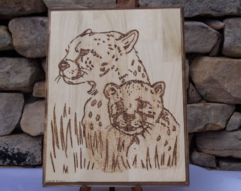 Cheetah Mother and Cub Woodburning Art